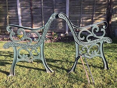 2 Heavy Cast Iron Bench Ends,with Braces,for Garden,