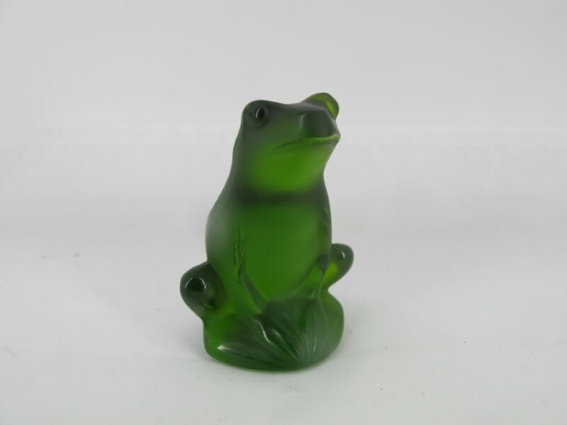 LALIQUE France Green Crystal RAINETTE Sitting Toad FROG Miniature Figurine