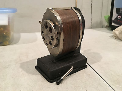 Vintage Boston Manual Pencil Sharpener Chromewood Finish 8 Hole Vacuum Mount