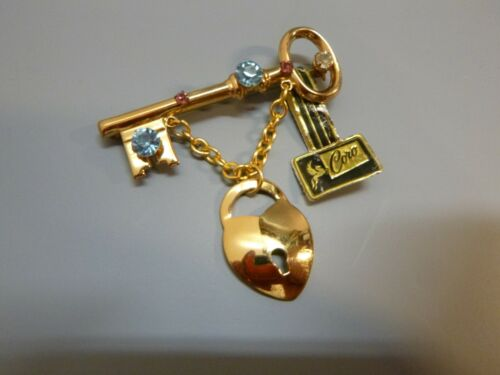Vintage Coro Key to Your Heart Pin Unworn with Tag