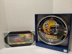 Green bay Packers clock & framed helmet picture wall decor