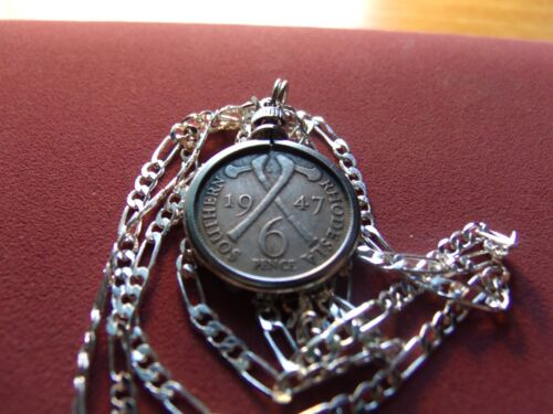 """Rare 1947 South Rhodesia """"Zimbabwe"""" Sixpence Pendant on a 26"""" Silver Link Chain."""