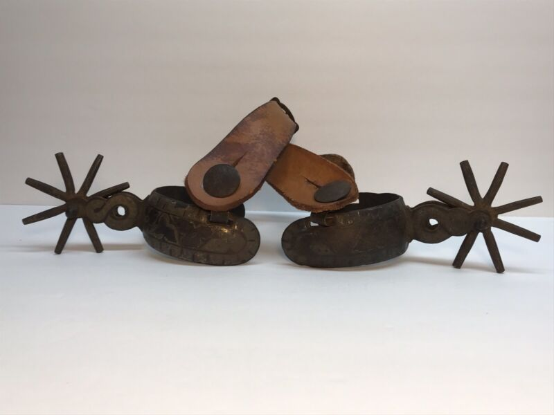 Antique Handmade spurs with inlay