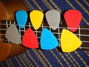 Ukulele Felt Plectrum Set (8 multicolour picks for ukelele)