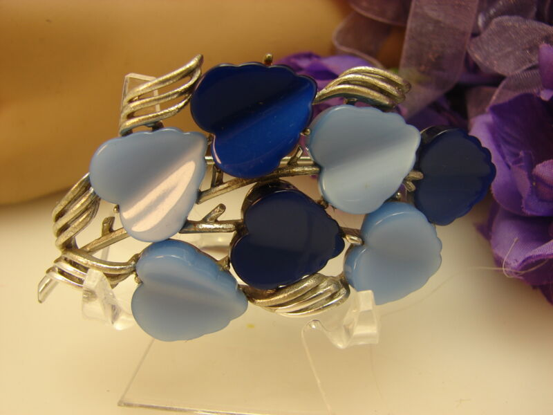 Vintage Coro Shades of Blue Lucite Hearts Silver Tone Brooch