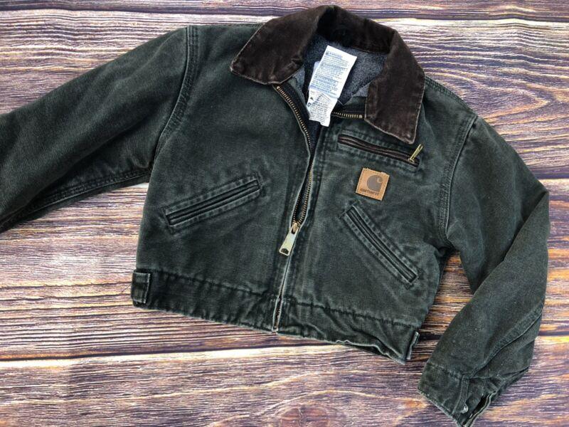 Boys XS 4/5 Carhartt Jacket Olive Green Zip Up Chore Coat