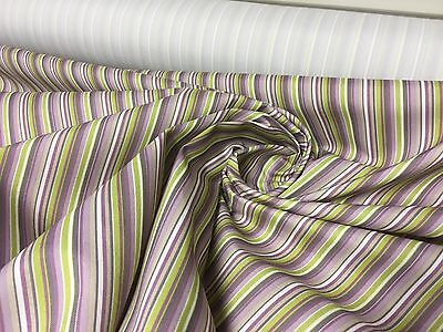LILAC STRIPE CURTAIN UPHOLSTERY FABRIC BY PANAZ 16.2 METRES
