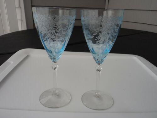FOSTORIA  BLUE JUNE WATER GOBLETS