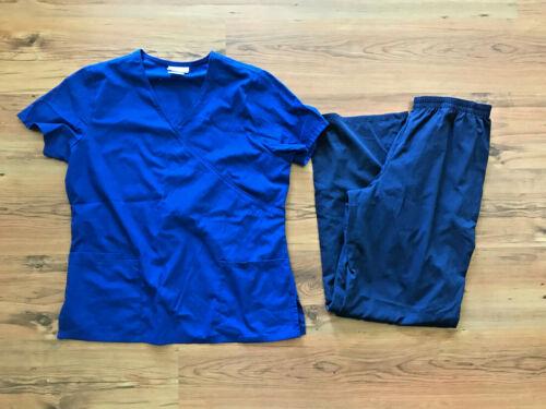 Womens Medical Nursing Scrubs Lot of 2 Size Medium M SB Scrubs Pants Tops Blue