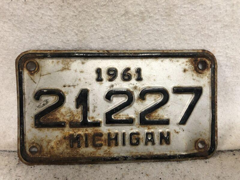 Vintage 1961 Michigan Motorcycle License Plate