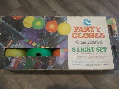 Vintage GE Blow Mold Patio Party Lights Huge globes Rare set !