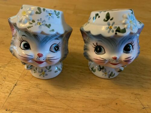 Lefton Miss Priss Cat Kitten salt & pepper shakers S&P Vintage 1950s Japan