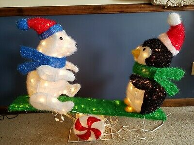 """Vintage 48"""" Animated Tinsel Bear & Penguin on Seasaw Outdoor Lighted Decoration"""