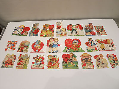 VINTAGE LOT VALENTINE CARDS APPROXIMATELY FROM EARLY 1900-40'S Die Cut CARDS