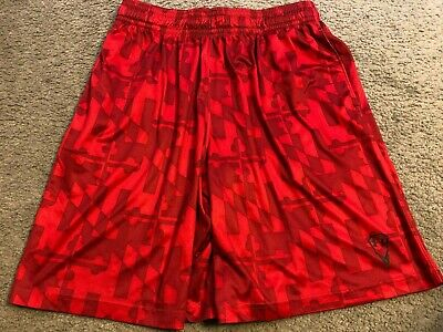 UNDER ARMOUR Red Design Athletic crossFIT Training Workout Shorts mens XL Under Armour Training Shorts