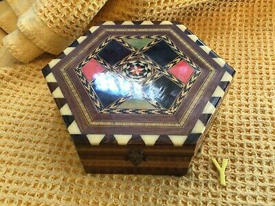 Vintage Large Hexagonal Wooden Box Laquered Top