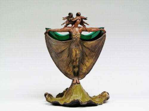 French Elegant  Art Nouveau Bronze Two Nymphs With Original Green Glass Insert.