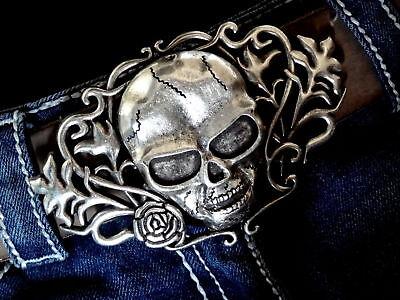 Totenkopf Gürtelschnalle buckle Schädel Flower Skull Rockstar Biker 4 cm
