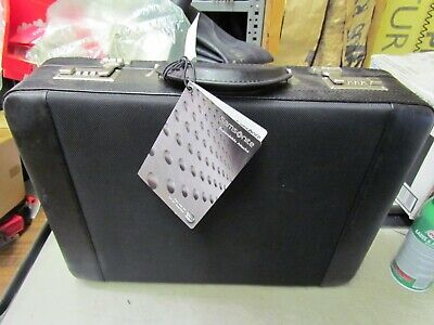 New SAMSONITE Leather and Canvas Black Expandable Attache BriefCase 44083-1041