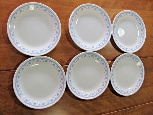 Vintage Corning Corelle Morning  Blue Floral Design 6 Luncheon Plates