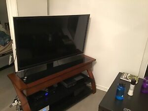 3-in-1 TV Stand with wood and glass finish