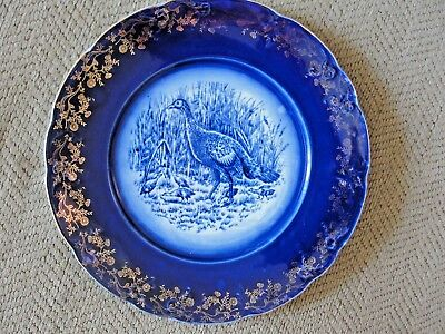 "Antique Flow Blue Turkey 9.25"" Plate with Gold Floral Design Estate Find Rare #1"