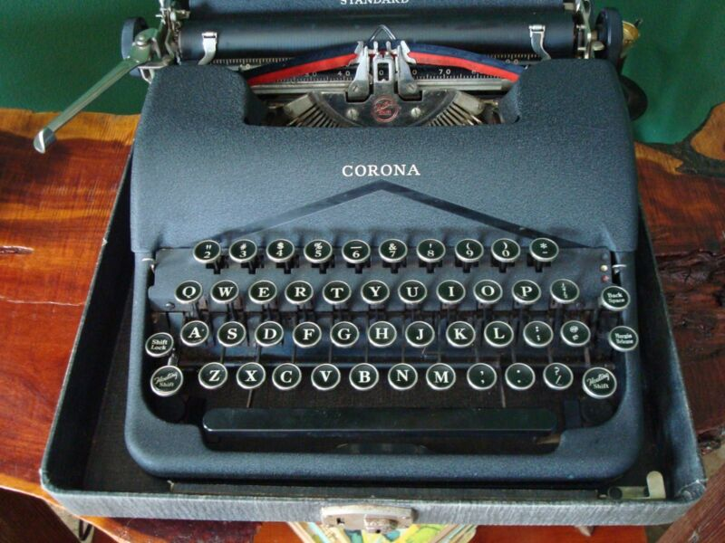 Vintage L C Smith Corona Standard Typewriter with Original Case