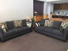 Two stunning 3.5 seater gunmetal grey Warwick fabric couches West End Brisbane South West Preview