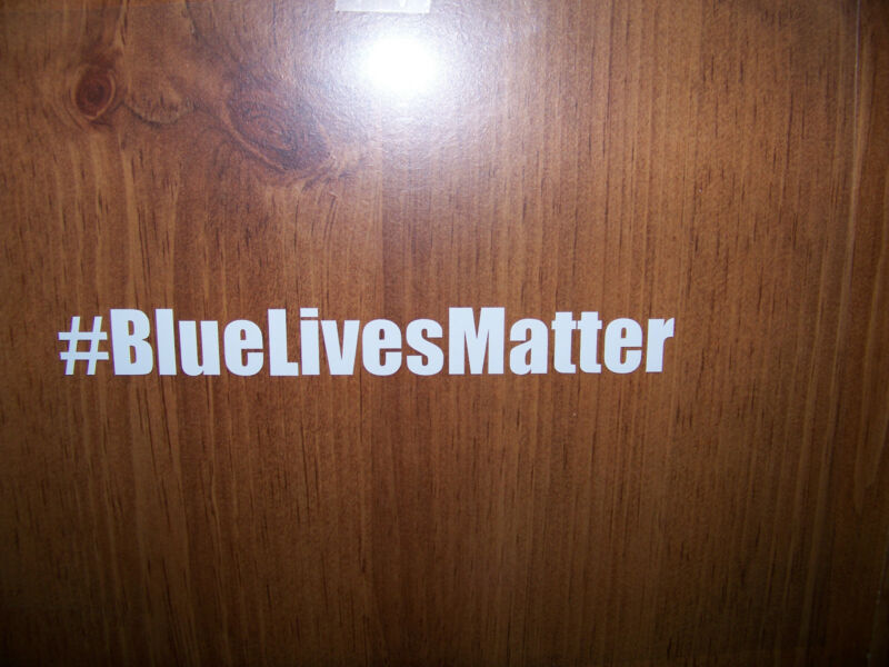 "Thin Blue Line Products ""# Blue Lives Matter""  Decal - White vinyl  SHIPS FREE!"