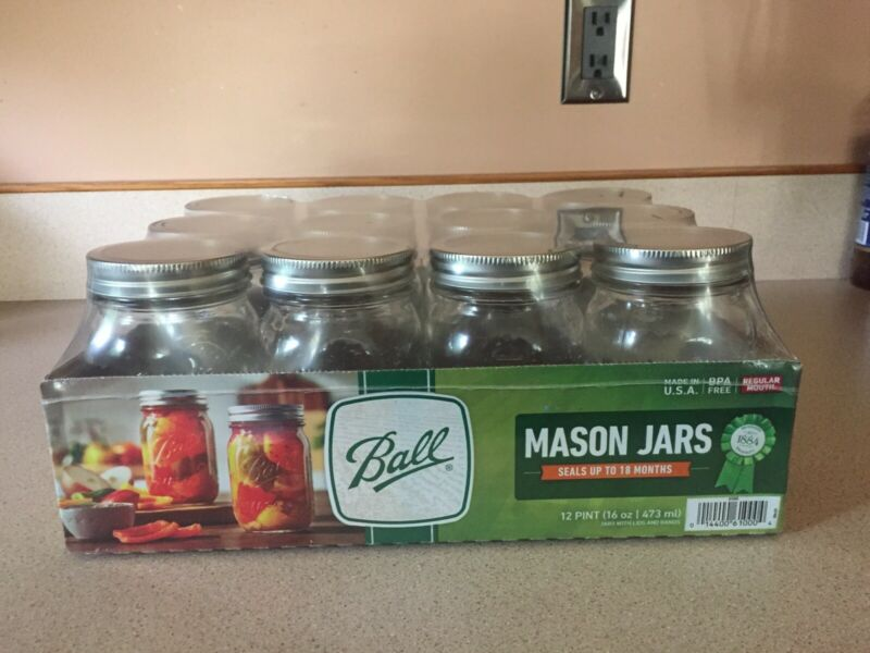 Ball Regular Mouth Pint Canning Mason Jars Including Bands & Lids 16 oz