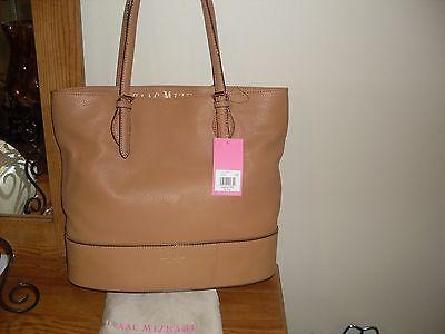 ISAAC MIZRAHI NEW YORK Diana Leather Tote Bag, Camel, MSRP
