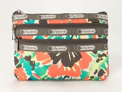 LeSportsac 3 Zip Cosmetic Bag Pouch Clutch Purse 5x7 Tropical Floral Small EXC