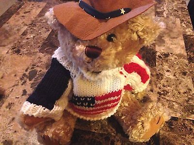 """BRASS BUTTON BEAR COWBOY CLAY AMERICAN FLAG SWEATER 12"""" JOINTED LONG LIFE BEAR"""