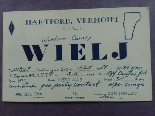 HARTFORD, VERMONT- DON HARLOW- W1ELJ- 1954- QSL