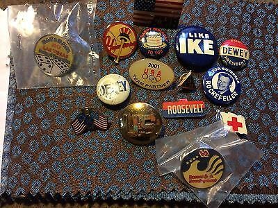 Vintage political, and  American pins, Yankees,  etc. LOT #5