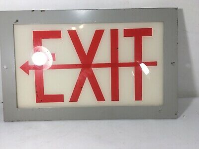 Vtg Glass Exit Sign Red And White Wall Mount Metal Frame No Light 14.5x9