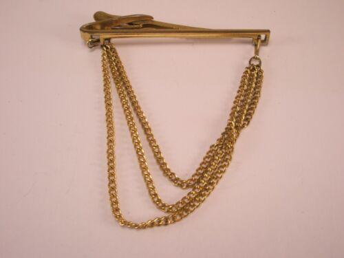 -Triple Chain Gold Tone Vintage HICKOK PENDANT Tie Bar Clip