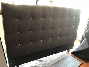 King Bed Headboard (luxurious) - charcoal fabric & crystals