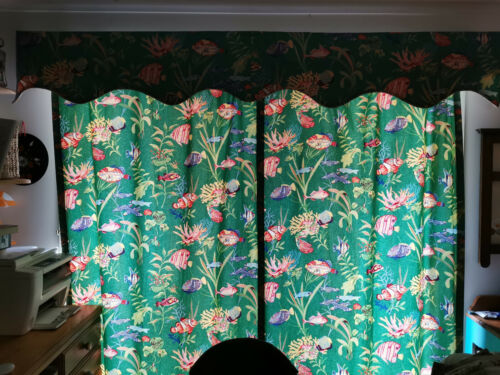 Vintage fish curtains drapes panels plus pelmet whimsical novelty matching set