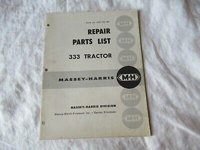 Massey Harris Ferguson 333 Tractor Catalog Book Manual