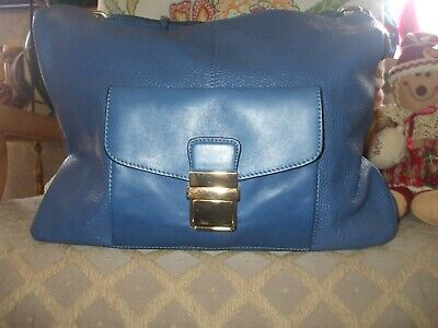 AB Bellucci bright blue leather hobo tote shoulder bag shop travel beach #42