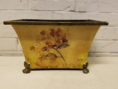 Antique Tole Painted Footed Floral Decorated Planter
