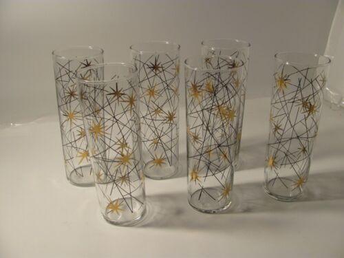 Set of 6 Vintage Libbey Atomic Star Drinking Glasses Gold Stars Lines MCM Skinny