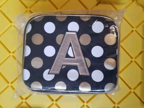 Justice Girls Lunch Box Bag Tote Initial A Black Gold White Polka Dots New