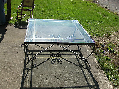 Large Wrought Iron Heavy Glass Top Coffe Table, 42