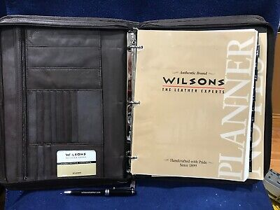 Wilsons Leather Zippered Business Portfolio Binder Vintage Brown With Wilson Pen