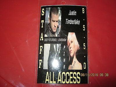 Justin Timberlake/Pink FutureSex / LoveShow Laminated Pass 2007