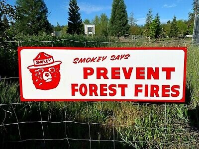 Vintage Painted Primitive Metal SMOKEY THE BEAR PREVENT FOREST WILD FIRES SIGN