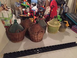 Wine bottles, jug, wicker, wine kit