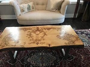 Live edge wood coffee table